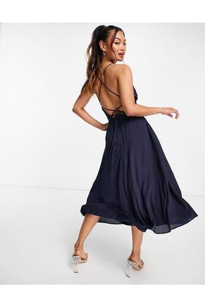 ASOS Wrap cami lace up back midi dress-Navy