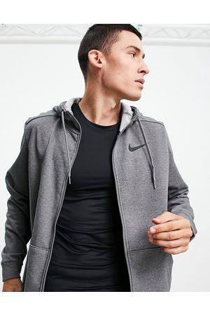 Nike Dri-FIT fleece zip through hoody in dark grey marl