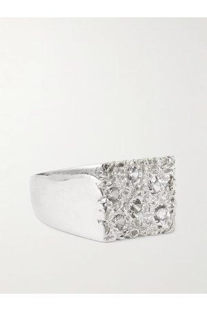 Bleue Burnham The Mini Rose Garden Sterling and Sapphire Signet Ring