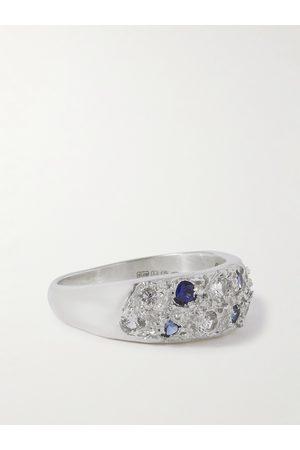 Bleue Burnham Homem Anéis - The Mini Riviera Sterling and Sapphire Ring