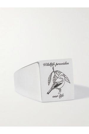 Bleue Burnham Homem Anéis - Engraved Sterling Signet Ring