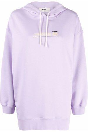 MSGM Longline logo-print hoodie