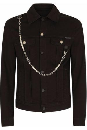 Dolce & Gabbana Homem Casacos - Chain-link detail denim jacket