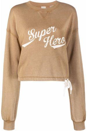 Pinko Senhora Camisolas sem capuz - Super Hero slogan-print cropped sweatshirt