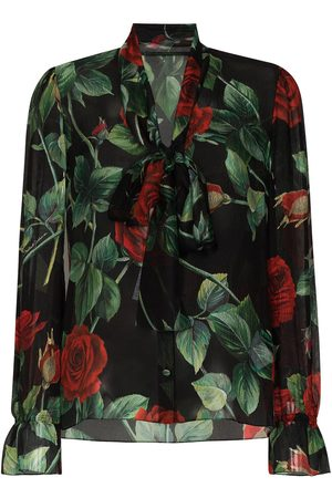 Dolce & Gabbana Rose print pussy-bow blouse