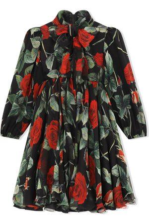 Dolce & Gabbana Kids Rose-print silk dress