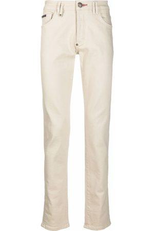 Philipp Plein Homem Slim - Logo-plaque slim-fit jeans