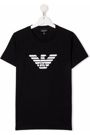 Emporio Armani Menino T-shirts & Manga Curta - TEEN logo-print cotton T-Shirt