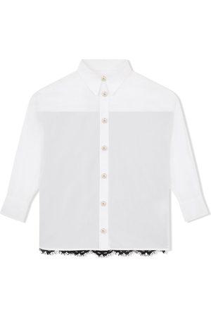Dolce & Gabbana Kids Long-sleeve lace-panel shirt