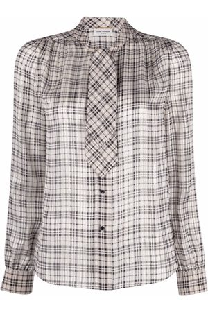 Saint Laurent Pussy-bow checked blouse