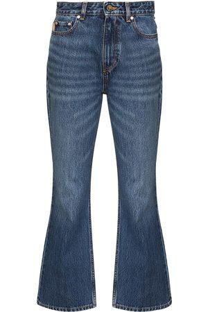 GANNI Logo-embroidered flared jeans