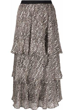 Pinko Metallic leopard skirt