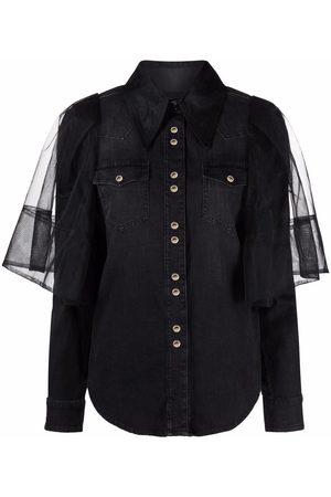 Pinko Senhora Ganga - Tulle-overlay denim shirt