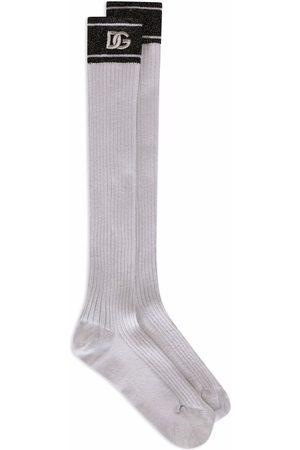 Dolce & Gabbana Senhora Meias - Metallic ribbed-knit socks