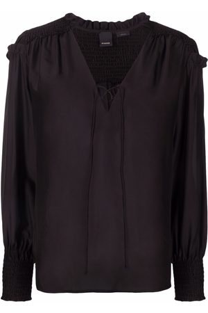 Pinko Ruched tie-front blouse