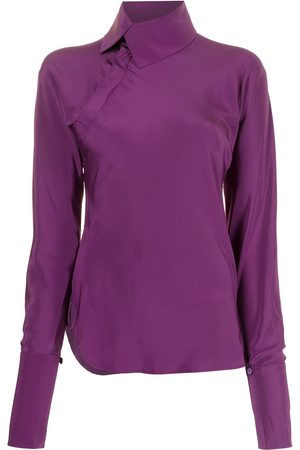 Shanghai Tang Cowl-neck mulberry silk blouse