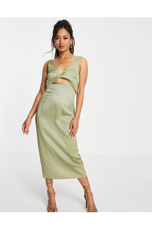ASOS DESIGN Twist detail textured midi dress in sage-Green
