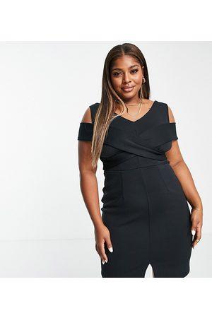 Closet London Plus Senhora Vestidos Lápis - Cross shoulder cut out pencil dress in black