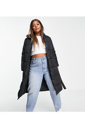 New Look Plus New Look Curve belted padded jacket in black