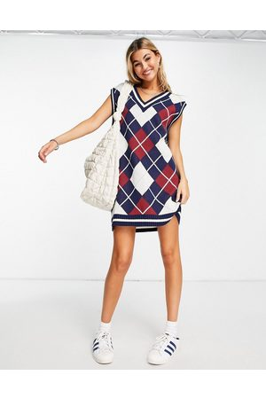 Weekday North recycled argyle sleeveless knit mini dress in multi