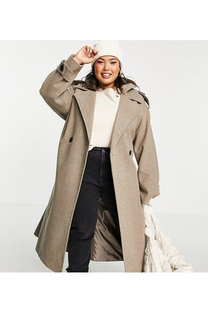 ASOS Curve ASOS DESIGN Curve slouchy belted coat with hood in mushroom-Grey