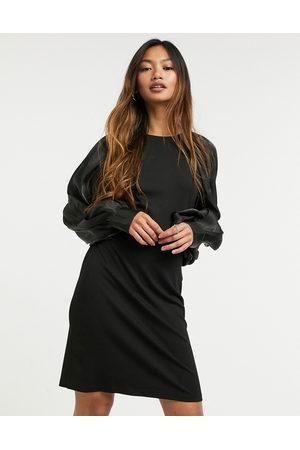 Vila Jersey mini dress with column sleeve in black