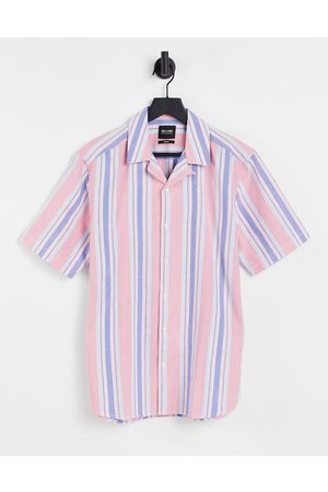 Only & Sons Homem Manga curta - Short sleeve shirt with revere collar in pink stripe