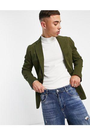 Gianni Feraud Khaki washed cotton utility blazer-Green