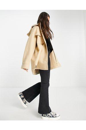 ASOS DESIGN Hooded brushed shacket in camel-Grey