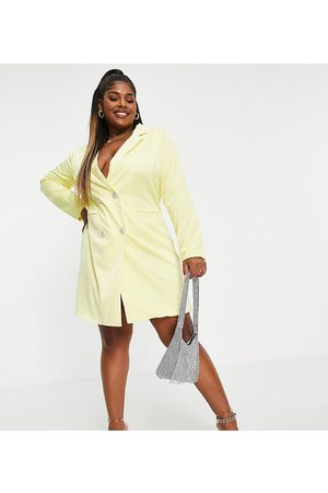 Collective the Label Curve Crystal button mini blazer dress in yellow