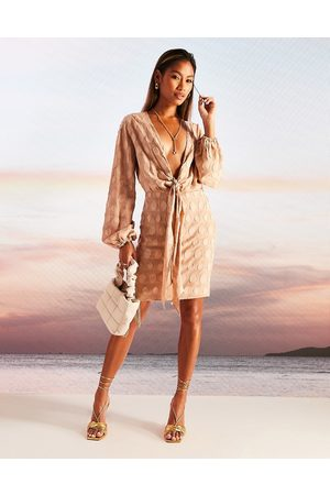 ASOS DESIGN Plunge knot front mini dress in jacquard spot-Multi