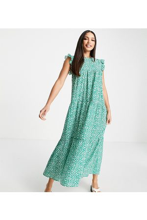 ASOS ASOS DESIGN Tall sleeveless tiered midi dress with frills in green floral print-Multi