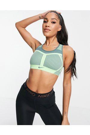 Nike Training Fenom flyknit high support sports bra in lime green