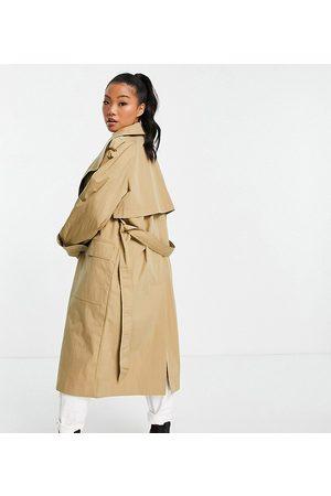 ASOS Petite Senhora Gabardinas - ASOS DESIGN Petite collared luxe trench coat in stone-Brown
