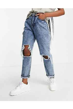 I Saw It First Distressed straight leg jean in blue