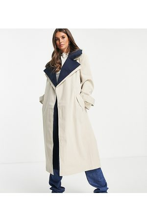ASOS Tall ASOS DESIGN Tall double layer trench coat in navy-Blue
