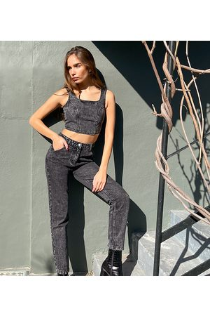 Labelrail X Hana Cross high waist jeans with seam details in acid wash co-ord-Black