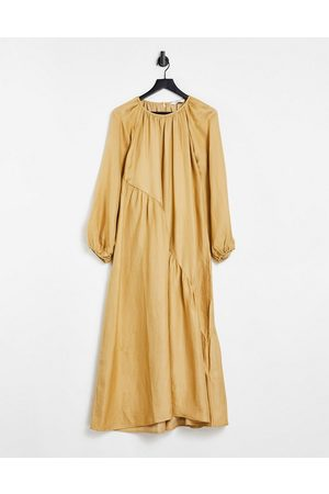 & Other Stories Round neck long sleeve maxi dress in mustard-Orange