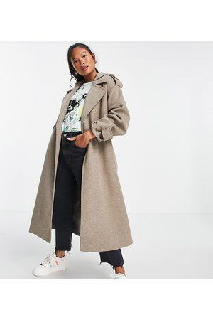 ASOS Petite Senhora Casacos - ASOS DESIGN Petite slouchy belted coat with hood in mushroom-Grey