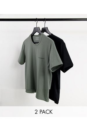 Emporio Armani Bodywear 2 pack core logoband t-shirts in black/ grey-Multi