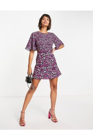 French Connection Bethany verona cut out mini dress in purple