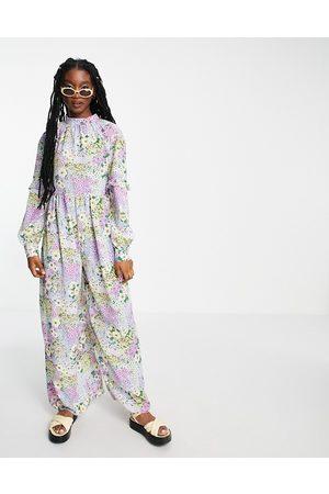 ASOS DESIGN Smock jumpsuit in bright summer floral print-Multi
