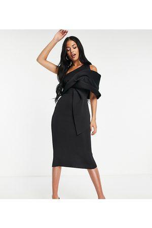 ASOS Tall Senhora Vestidos de Festa - ASOS DESIGN Tall peekaboo shoulder tuck midi pencil dress in black