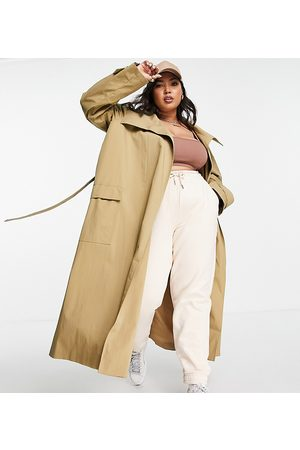 ASOS Curve ASOS DESIGN Curve collared luxe trench coat in stone-Brown