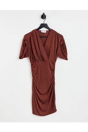 Closet Senhora Vestidos Midi - Ruched sleeve wrap midi dress in chocolate brown