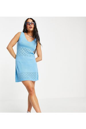 COLLUSION Knitted dress with pointelle detail in pale blue-Pink