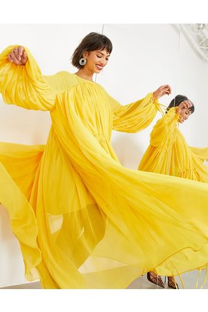 ASOS EDITION Senhora Vestidos de Festa - Gathered neck midi dress in mustard-Yellow