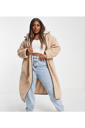 ASOS Curve ASOS DESIGN Curve fleece coat with contrast stitching in camel-White