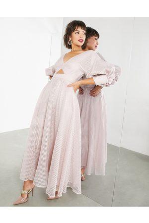 ASOS Senhora Vestidos de Festa - Blouson sleeve midi dress in organza check in blush-Pink