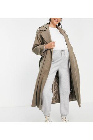 ASOS Maternity Senhora Casacos - ASOS DESIGN Maternity slouchy belted coat with hood in mushroom-Grey